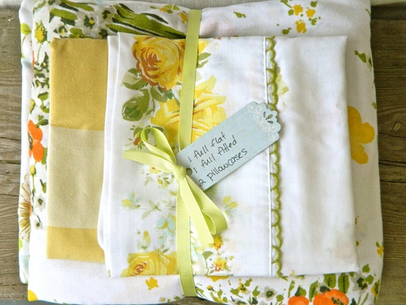 Vintage Remixed Full sheet set in flowers, butterflies, and checks