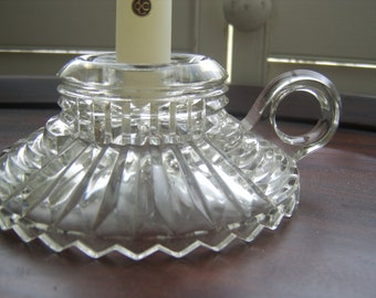1950s Cut Glass Candle Holder