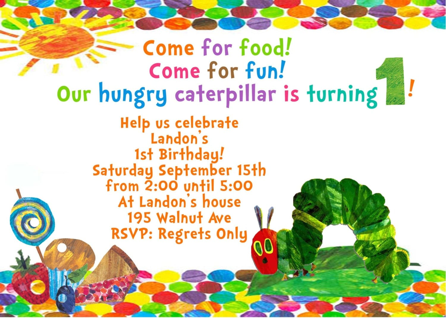 The Very Hungry Caterpillar, by Eric Carle Birthday Party Ideas ...