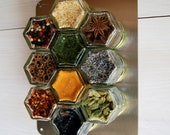 SMALL Stainless Steel Metal Wall Plate.  Fits up to 13 Magnetic Spice Jars (Jars NOT Included). Free Shipping.