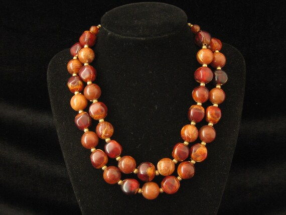 Vintage Brown Fall Plastic Bead 2 Strand Necklace 1960s