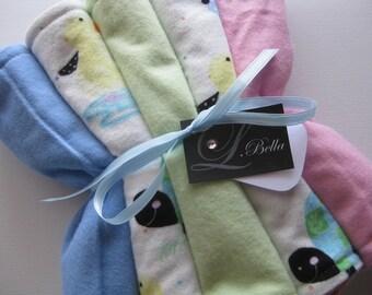 "Baby Burp Cloth Set of 5 ""Animal Crackers"" Flannel Soft Barnyard Animals Gender Neutral Boy Girl"