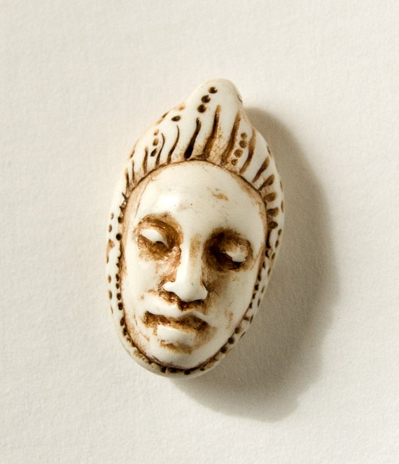 Faux-Ivory Face Bead-- Ancient-Looking Handmade Focal Bead or Pendant