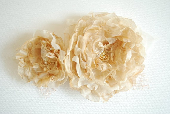 Champagne-cream-gold romantic roses-Set of two-Vintage inspired-Weddings Accessories Hair Bride Bridesmaids -Organza flowers for sash.