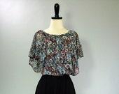 Vintage 70s Dress / Floral / BOHO CHIC / s