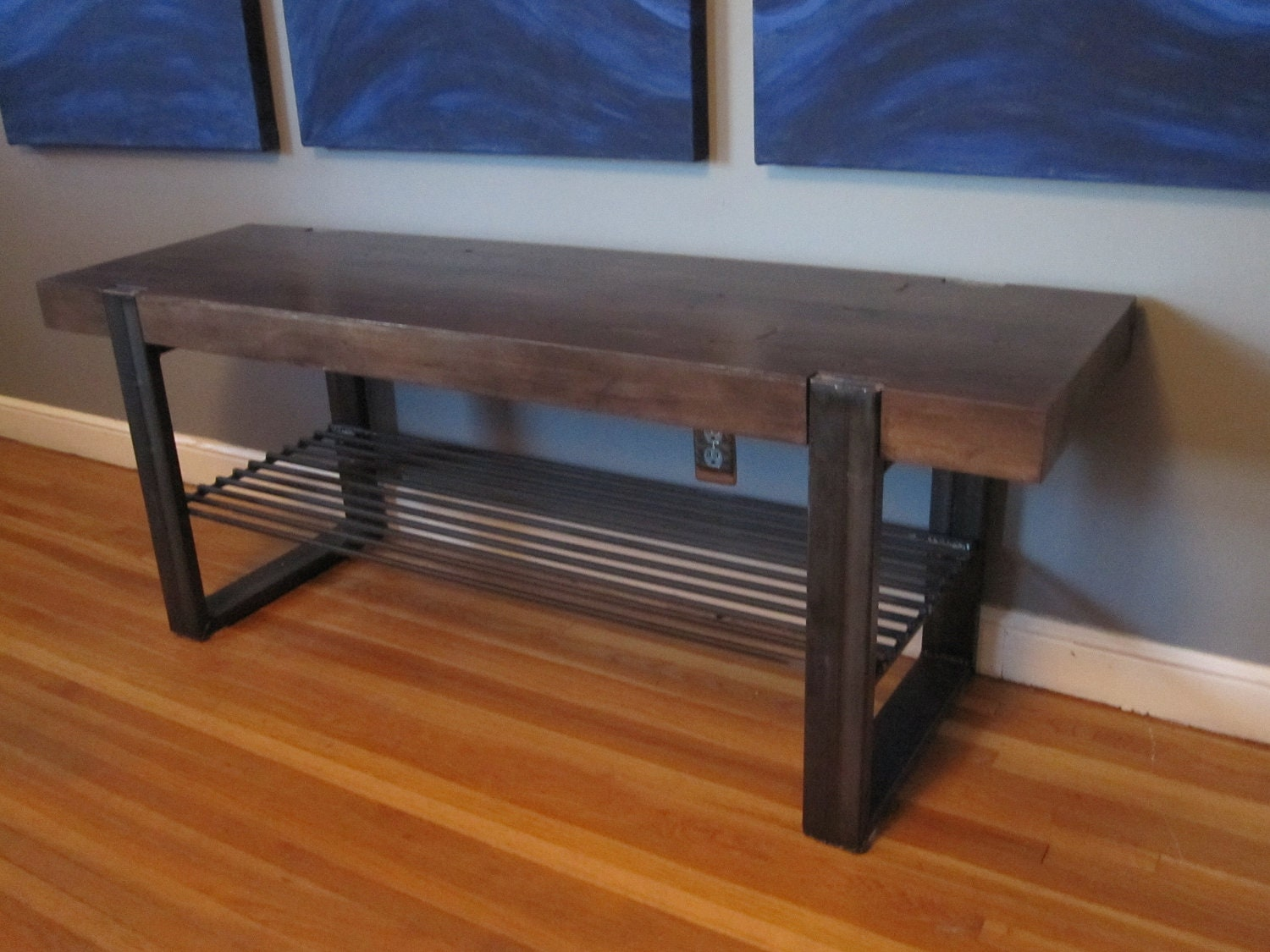 industrial wood and steel bench. Black Bedroom Furniture Sets. Home Design Ideas