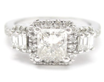 1.54ctw princess cut prong set antique style diamond engagement ring 14k white gold KP48