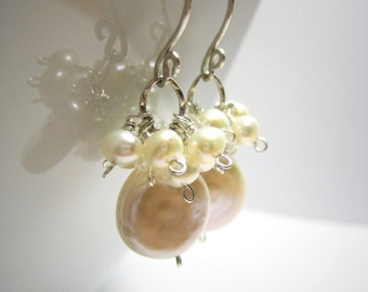 Pearl Coin Pearl Cluster Earrings