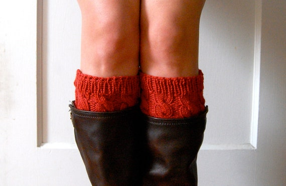 Knitted Boot Cuffs, Toppers, Cabled in Brick Red, Wool