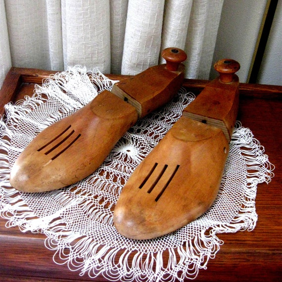 Vintage Shoe Lasts Wooden Wood Shoe Stretchers Forms Book Ends Industrial Set of Two