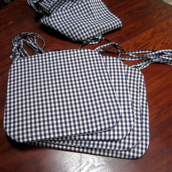 vintage gingham chair pads and table cloth cotton blue and white check