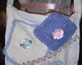 Sale !!!!Large Messenger Bag with  Vintage Dollies and Ribbon Flowers
