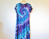RESERVED for K ROSE Psychedelic Hippie Purple Blue Tie Dye Button Up Maxi Dress
