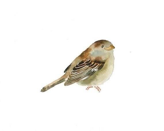 SPARROW by DIMDI Original watercolor painting 10x8inch