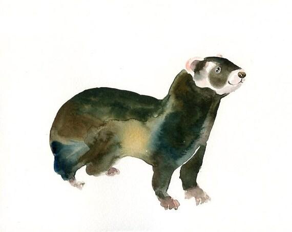 POLECAT by DIMDI Original watercolor painting 10x8inch