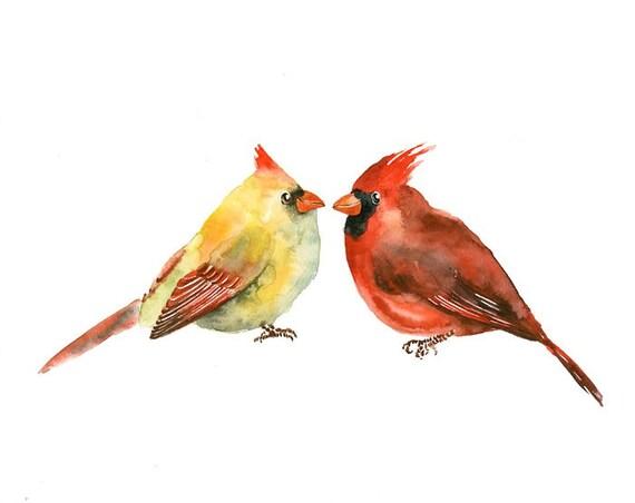 CARDINALS by DIMDI Original watercolor painting 10X8inch