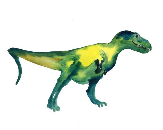 T rex by DIMDI Original watercolor painting 10x8inch