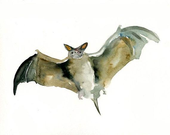 BAT by DIMDI Original watercolor painting 10X8inch