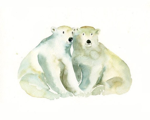 POLAR BEARS by DIMDI Original watercolor painting 10X8inch