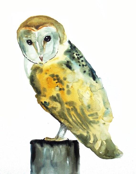 BARN OWL Original watercolor painting 11X14inch