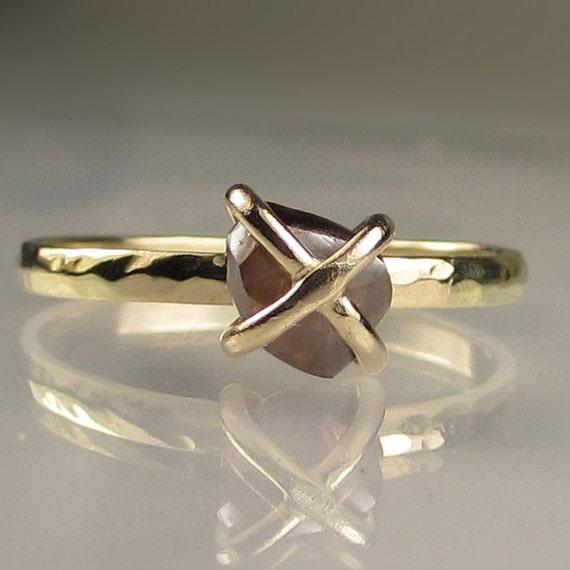 Rough Diamond Ring - Caged Cognac Diamond in 14k Yellow Gold