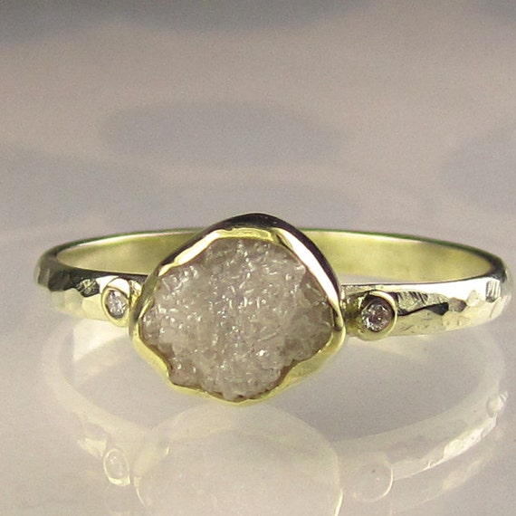 Raw White Diamond Ring - Recycled 18k and 14k Yellow Gold