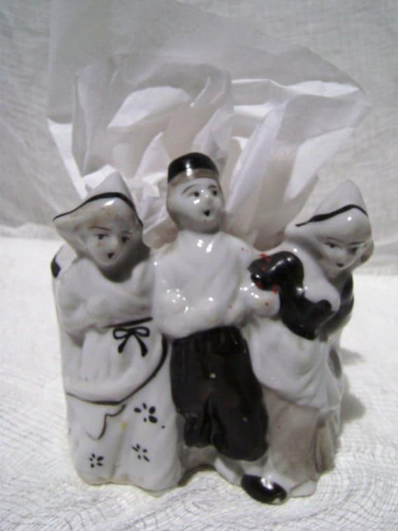 Vintage Dutch People Planter, Made in Japan, Ethnic Trio, Holland, Black and White, Pencil Holder, Scrub Brush Holder, Figural
