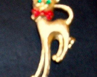 Vintage Bobble Head Cat Pin Goldtone Metal w/Rhinestone Eyes
