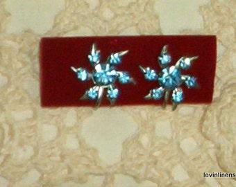 Blue Rhinstone Floral screwback Earrings vintage