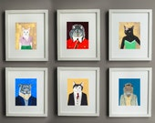 Set of 6 Animal Giclee Prints -- 8x10 // 16x20 // 22x28 - Gallery Wall - Wedding Gift - Nursery Art
