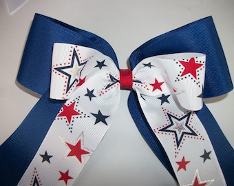 Royal Blue and Red White and Blue Stars  Extra Large Cheer Dance Team  Hair Bow with Tails, Cheerleading Hair Bow, Competition Hair Bows,