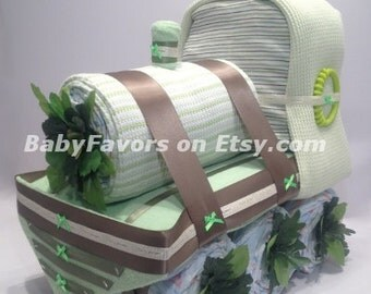 Adorable Train Diaper Cake for Boy / Girl / Neutral - Baby shower Centerpiece or gift for new baby