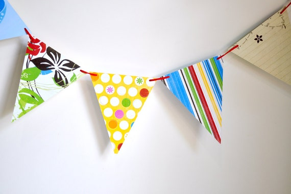 Handmade Paper Bunting - Bright Colorful Handmade Garland Decor for Kids Rooms and Classrooms