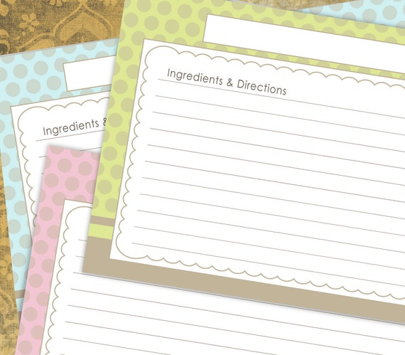 Items similar to Dots Border Recipe Cards lined 4x6 ...