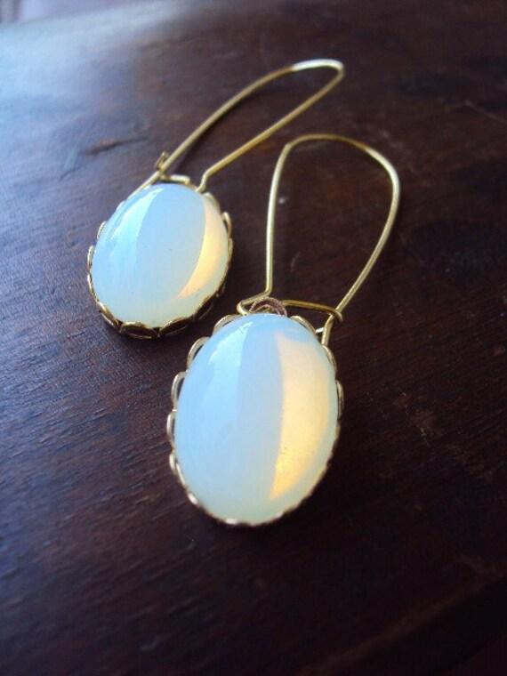 Vintage White Opal Earrings German Glass on Long Kidney Earwires