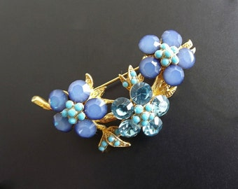 Vintage Brooch Blue Rhinestones Costume Jewelry Accessories Dressy Casual