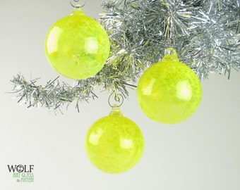 Blown Glass Ornament Suncatcher Bright Yellow Speckle
