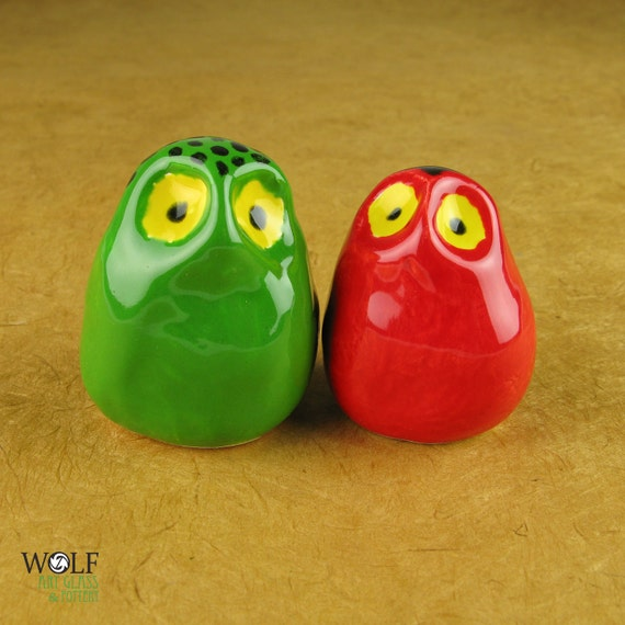 Pottery Owl Pair - The Owlet Misfits Collection Red and Green
