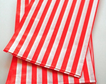 Set of 50 - Traditional Sweet Shop Red Stripe Paper Bags - 10 x 14