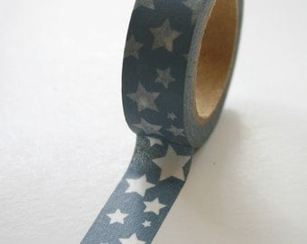 Washi Tape - 15mm - White Stars on Blue-Grey Pattern - Deco Paper Tape No. 266