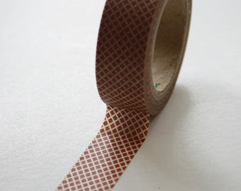 Washi Tape - 15mm - Rust Diagonal Grid Pattern - Deco Paper Tape No. 53