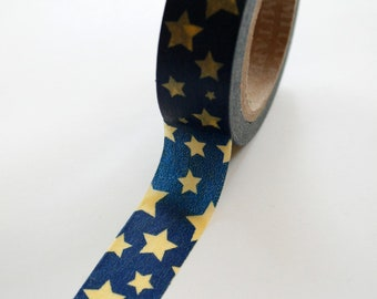 Washi Tape - 15mm - Yellow Stars on Navy - Deco Paper Tape No. 402