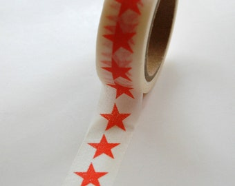 Washi Tape - 15mm - Coral Large Stars on White Pattern - Deco Paper Tape No. 379