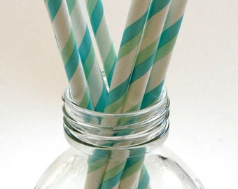 50 Aqua and Green Stripe Paper Straws - Perfect for Parties - Favors--Free Editable DIY Tags PDF