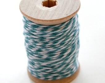 Baker's Twine - 20 Yards - Ocean - Blue Green - 4 Ply Twine on Wooden Spool