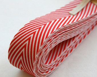 Chevron Twill Herringbone Ribbon - Red and White 3/4 Inch Width - Packaging and Gift Ribbon