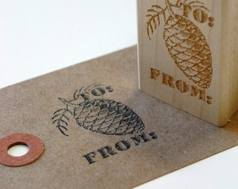 Vintage Inspired Design To From Pine Cone Wood Mounted Red Rubber Stamp with Engraved Top in Gift Bag - Gift Tag Size