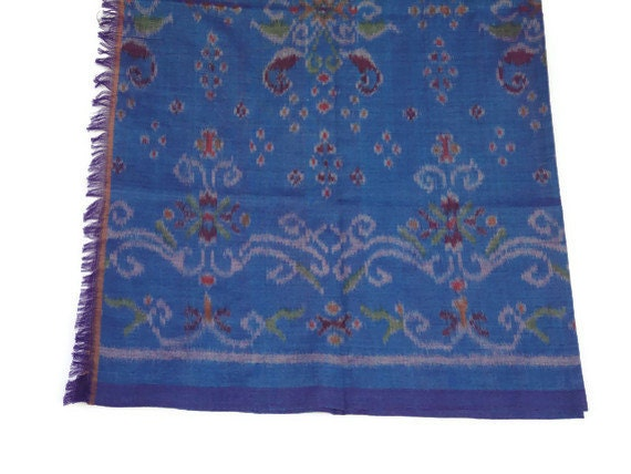 "IKAT Fabric, 41"" x 86"", Cotton, Handmade in Bali, Turquoise Blue, No 10"