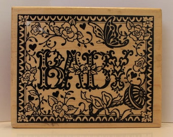 BABY butterflies roses rattle rubber stamp PSX