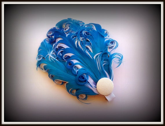 Teal and White Curly Nagoire Feather Fascinator Hair Clip
